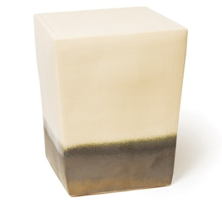 TWO GLAZE SQUARE CUBE - WHITE TOP AND SIDES / METALLIC BASE