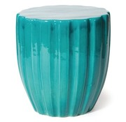 SEASONAL LIVING CERAMIC SCALLOP STOOL - AQUAMARINE