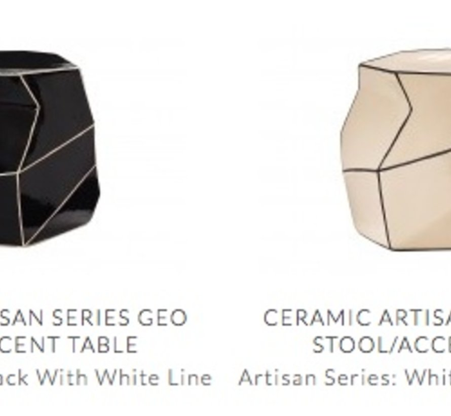 CERAMIC ARTISAN SERIES GEO STOOL/ACCENT TABLE