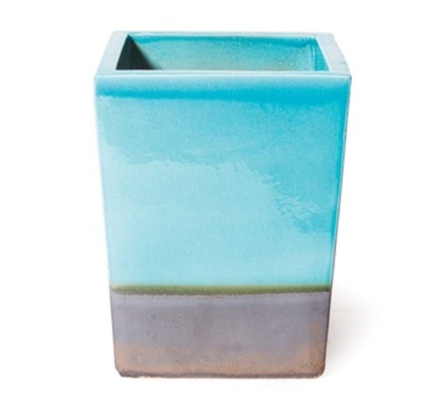 CERAMIC CUBE PLANTER - TURQUOISE TOP / METALLIC BASE