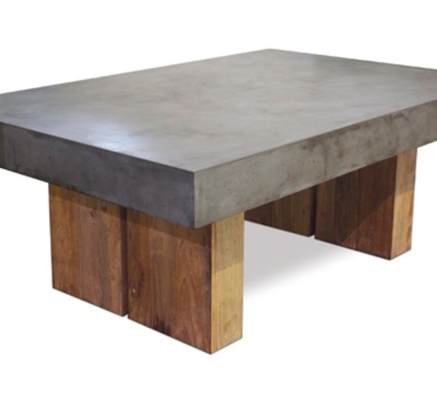 SAMOS GREY COFFEE TABLE WITH RECLAIMED TEAK BASES