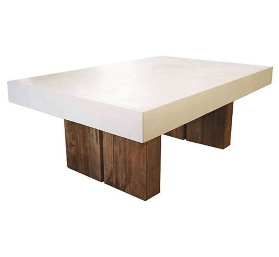 SAMOS WHITE COFFEE TABLE WITH RECLAIMED TEAK BASES