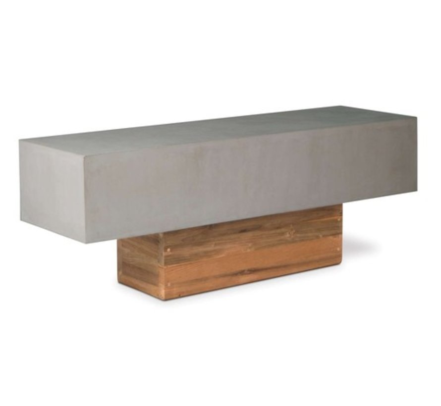 PERPETUAL URBAN BENCH WITH SLATE GRAY TOP AND RECLAIMED TEAK BASE
