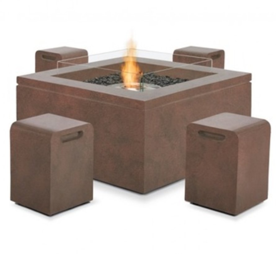 QUAD BIOETHANOL FIRE TABLE IN RUST