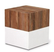 SEASONAL LIVING MAGIC CUBE WITH RECLAIMED TEAK TOP/IVORY WHITE BASE