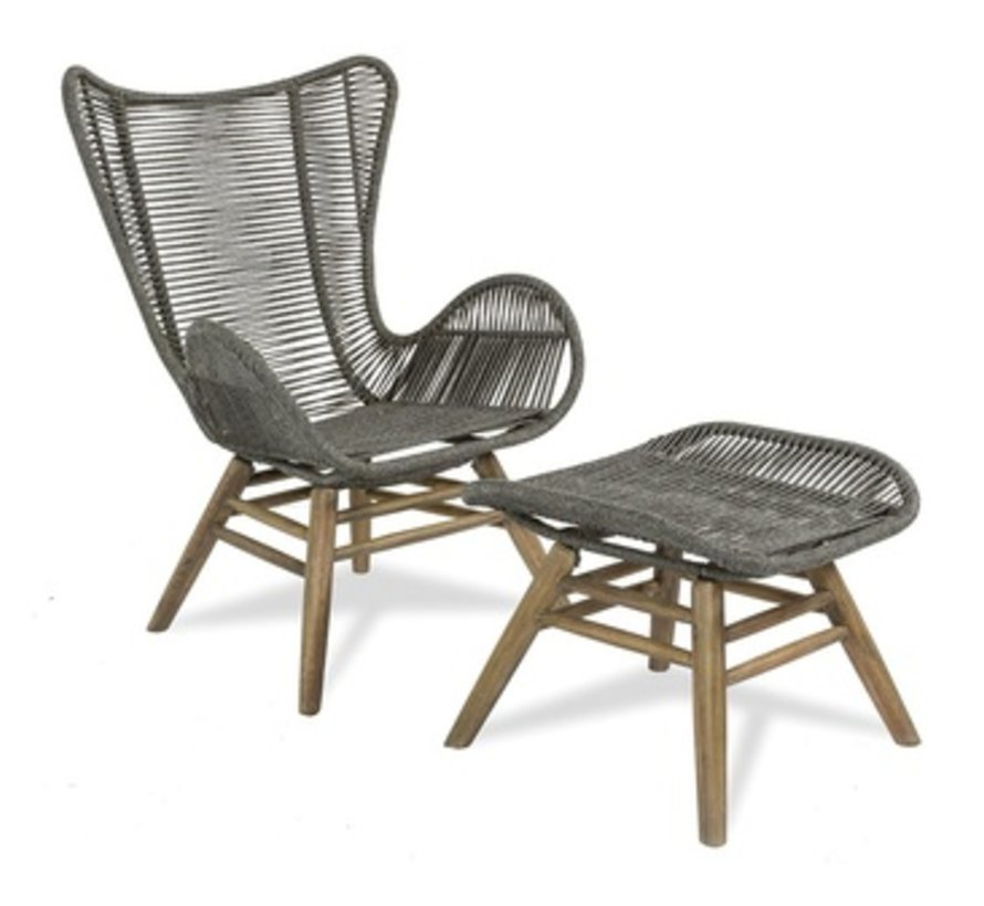 EXPLORER OCEANS NEPTUNE CHAIR & OTTOMAN, POWDER COATED STEELFRAME AND  ACACIA WOOD BASE
