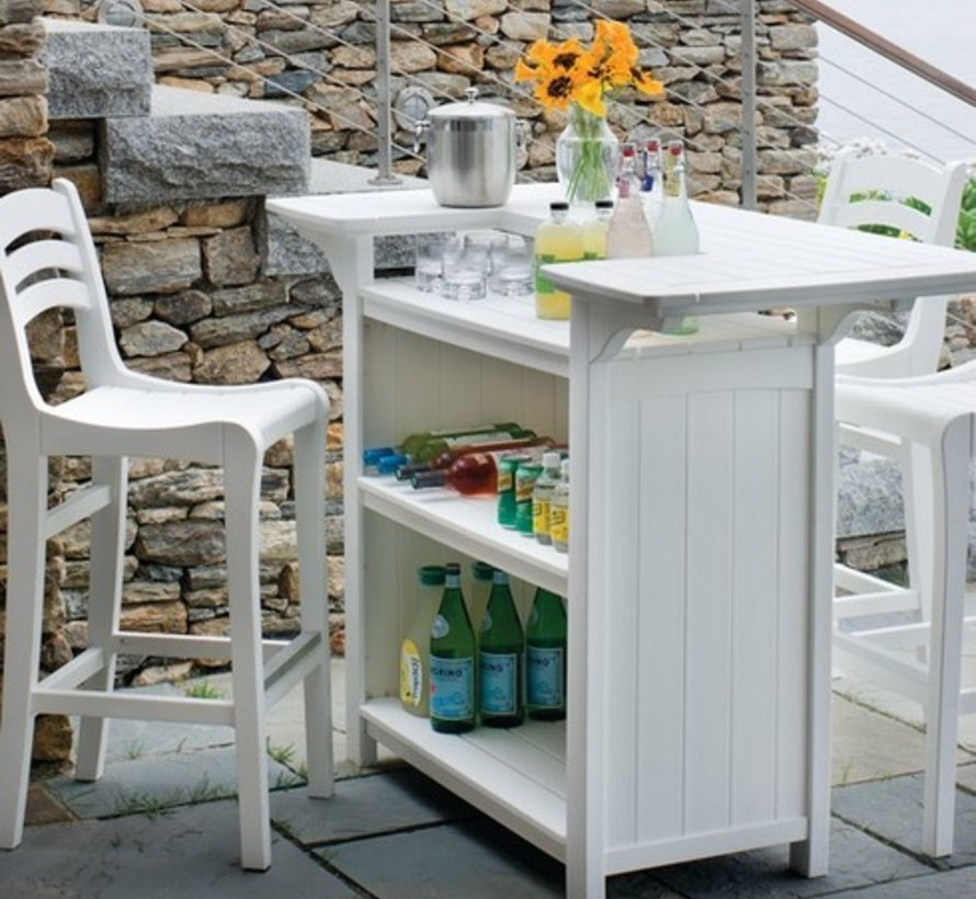 PORTSMOUTH PARTY BAR WITH UMBRELLA HOLE - WHITE