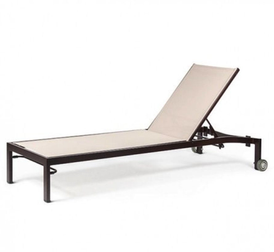 BLEAU G2 FULL BASE STACKING CHAISE LOUNGE WITH WHEELS, REGULAR SLING, STANDARD POWDER COATED ALUMINUM FRAME