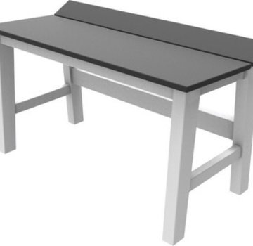 SEASIDE CASUAL SYM 28 INCH DINING BENCH WITH WHITE FRAME AND CHARCOAL SEAT