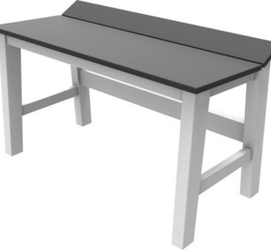 SYM 28 INCH DINING BENCH WITH WHITE FRAME AND CHARCOAL SEAT