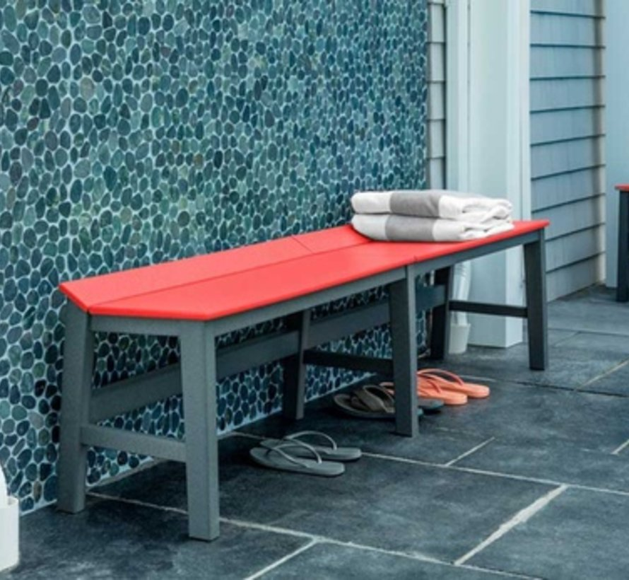 SYM 72 INCH DINING BENCH WITH WHITE FRAME AND CHARCOAL SEAT