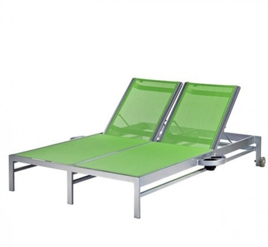 BLEAU DOUBLE CHAISE LOUNGE W/ WHEELS AND ATTACHED SIDE TRAYS, REGULAR SLING, STANDARD POWDER COATED ALUMINUM FRAME