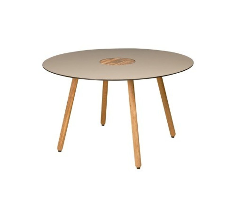 BONO 50 INCH ROUND DINING TABLE WITH HPL TOP, TEAK CENTER AND LEGS