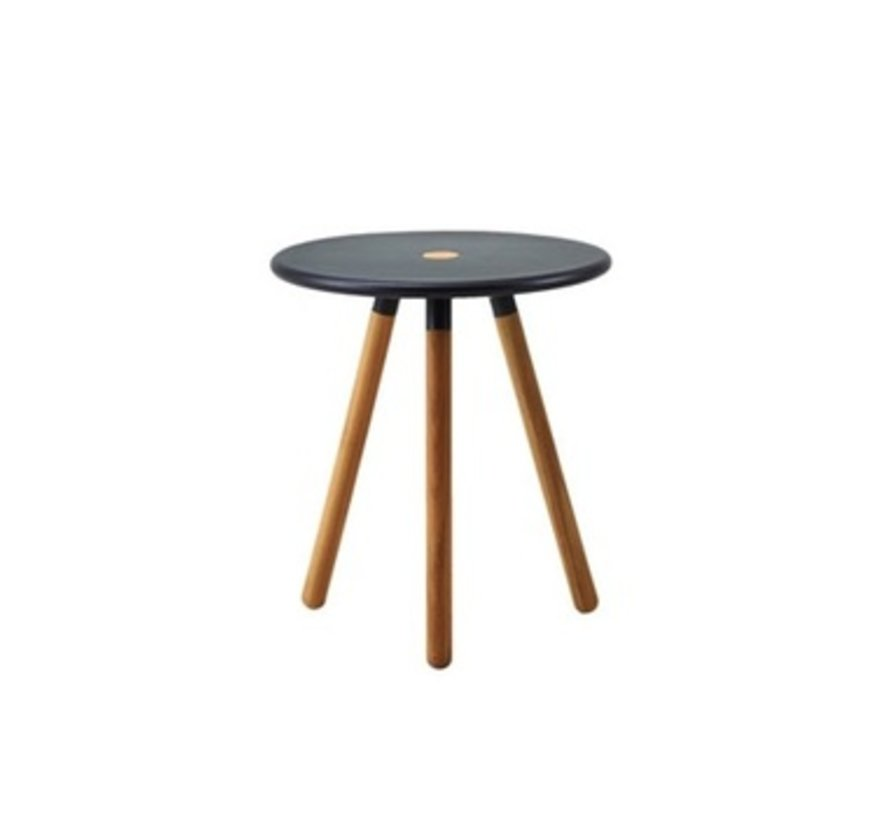 AREA TABLE/STOOL / LAVA GREY ALUMINUM TOP AND TEAK LEGS