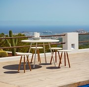 CANE-LINE AREA TABLE/STOOL / WHITE ALUMINUM TOP AND TEAK LEGS