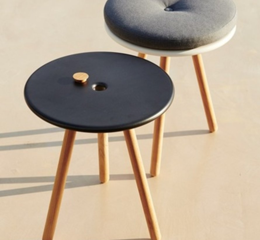 AREA TABLE/STOOL / WHITE ALUMINUM TOP AND TEAK LEGS