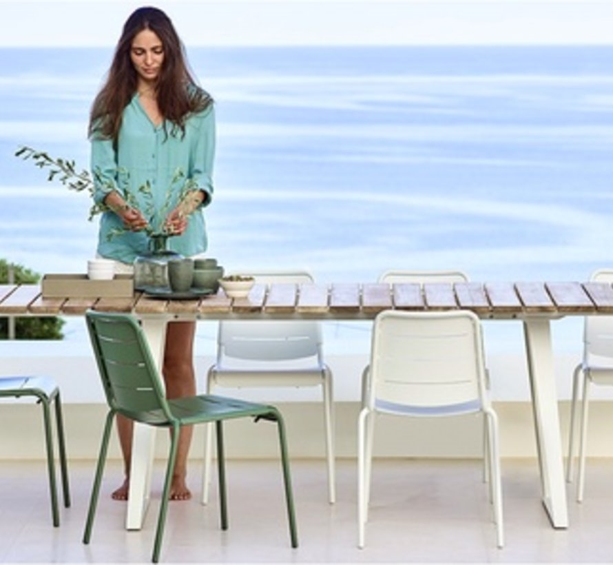 COPENHAGEN EXTENSION DINING TABLE WITH WHITE ALUMINUM BASE AND TEAK TOP