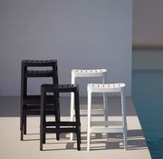 CANE-LINE CUT BAR CHAIR IN BLACK ALUMINUM