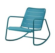 CANE-LINE COPENHAGEN ROCKING CHAIR IN AQUA ALUMINUM