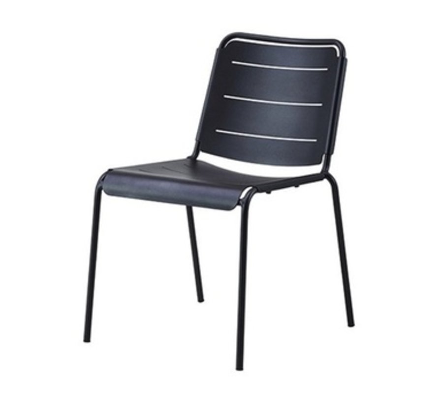 COPENHAGEN SIDE CHAIR IN LAVA GREY ALUMINUM / SOLD IN SETS OF 2 ONLY