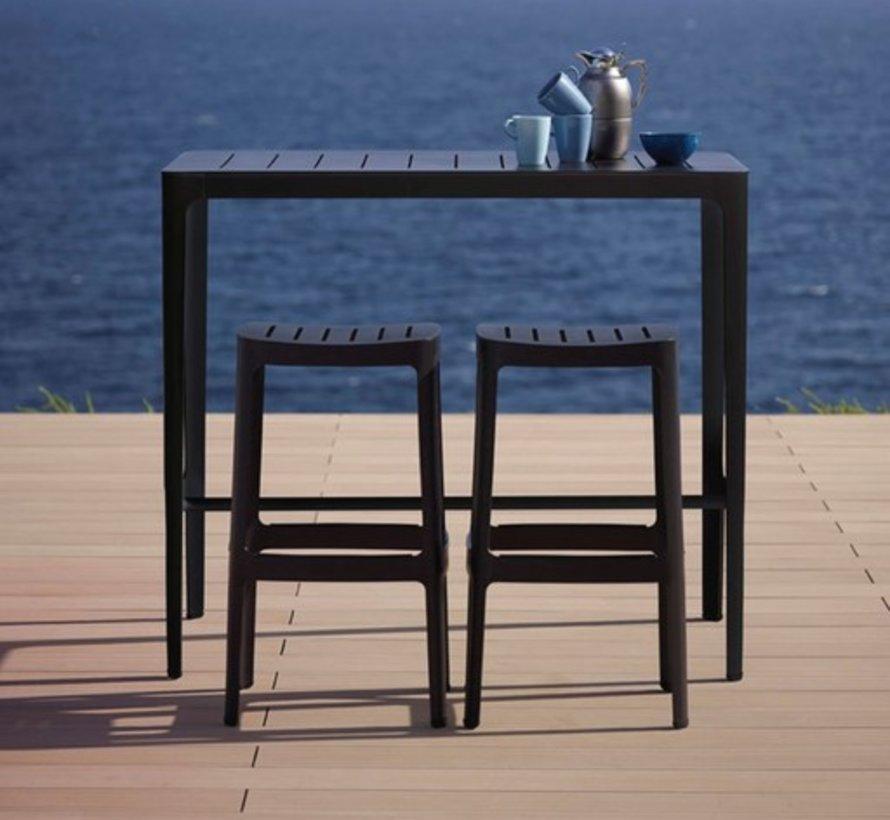 CUT BAR TABLE IN BLACK ALUMINUM