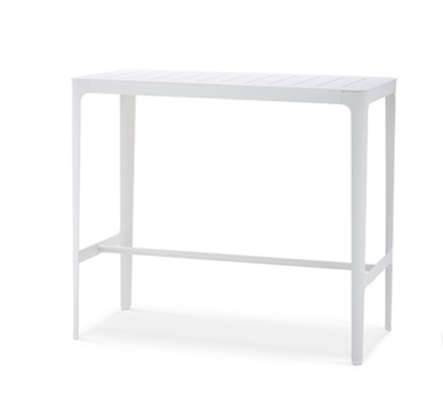 CUT BAR TABLE IN WHITE ALUMINUM