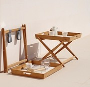 CANE-LINE AMAZE FOLDING TRAY TABLE IN TEAK WITH WHITE ALUMINUM TOP
