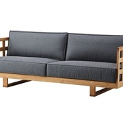 SQUARE 3-SEATER SOFA IN TEAK WITH GREY SOFTTOCH CUSHION