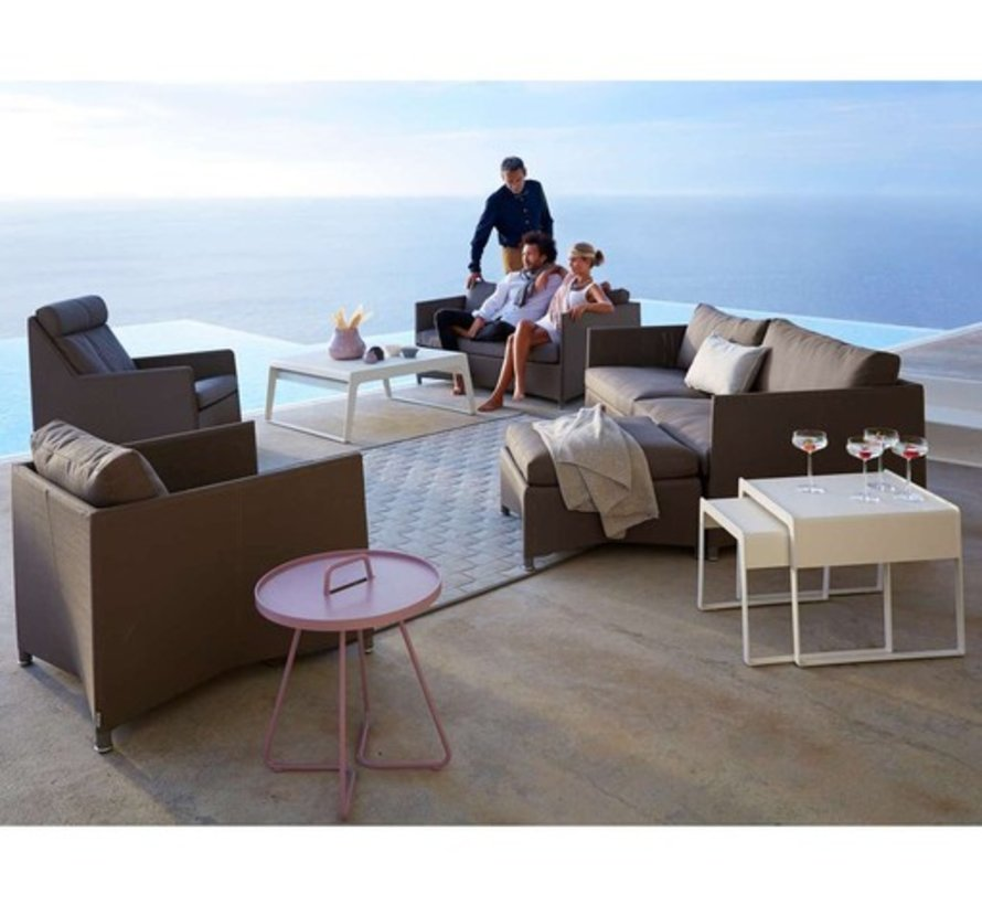 CHILL-OUT SIDE TABLES (LARGE + SMALL) IN WHITE ALUMINUM