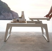 CANE-LINE CHILL-OUT COFFEE TABLE WITH DUAL HEIGHT TOP IN WHITE ALUMINUM