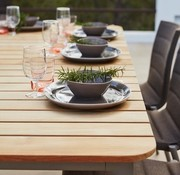 CANE-LINE CORE 83x39 DINING TABLE WITH LAVA GREY ALUMINUM FRAME AND TEAK TOP