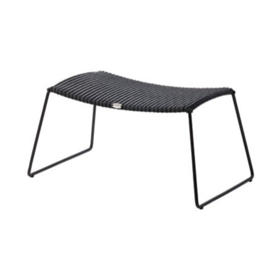 BREEZE FOOTSTOOL IN BLACK CANE-LINE FIBRE