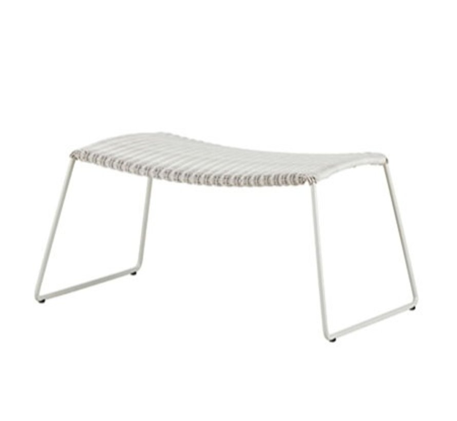 BREEZE FOOTSTOOL IN WHITE GREY CANE-LINE FIBRE