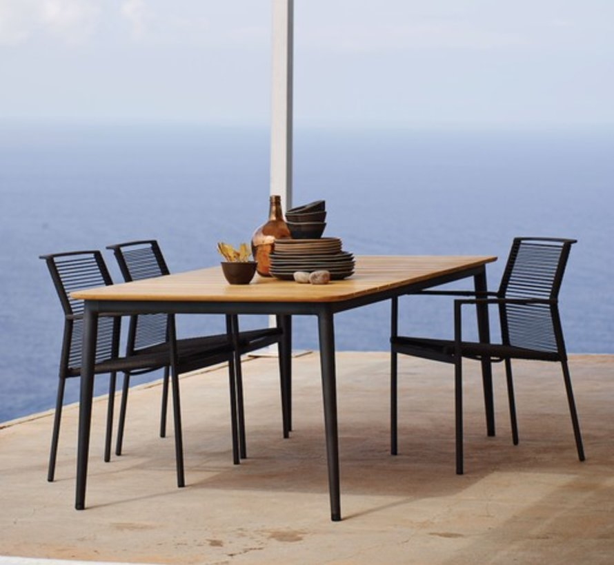 EDGE ARM CHAIR IN ANTHRACITE, CANE-LINE ROPE
