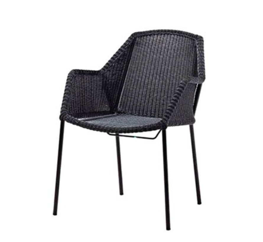BREEZE STACKABLE ARMCHAIR IN BLACK CANE-LINE FIBRE