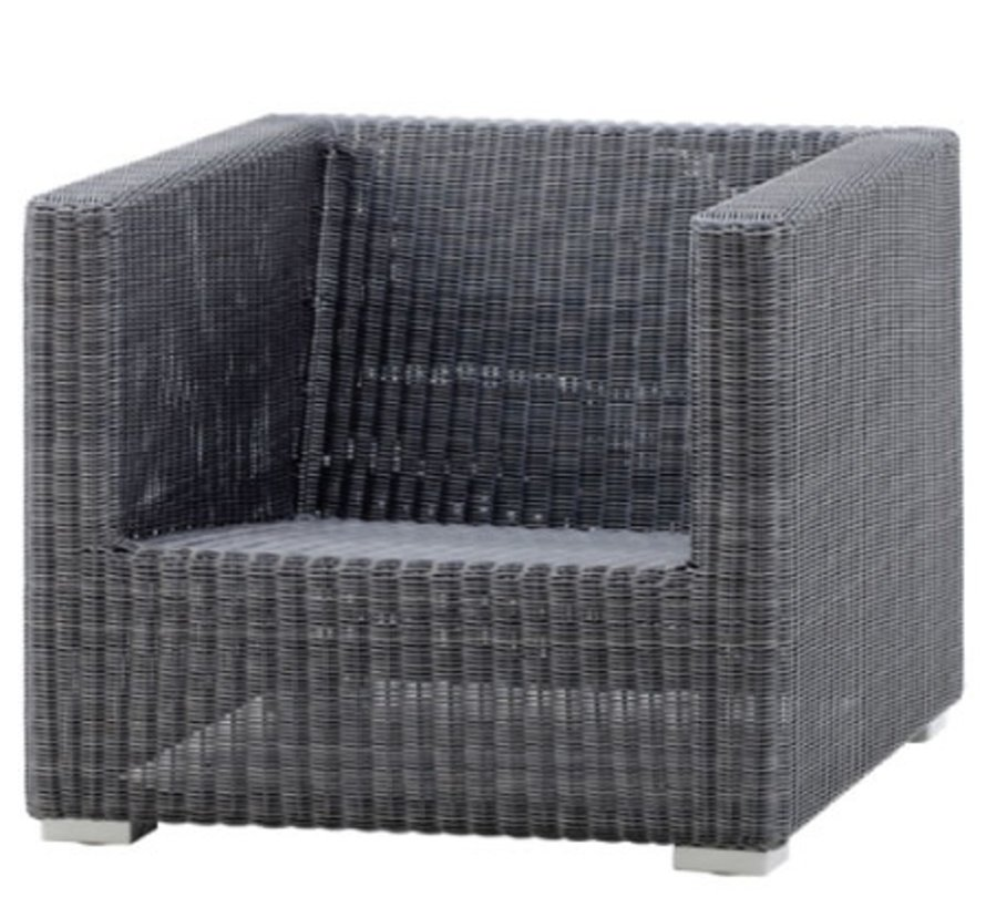 CHESTER LOUNGE CHAIR IN GRAPHITE CANE-LINE FIBRE
