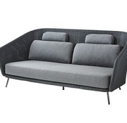 CANE-LINE MEGA SOFA IN GRAPHITE WEAVE WITH CUSHIONS IN GREY SOFTTOUCH