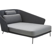 CANE-LINE MEGA DAYBED LEFT IN GRAPHITE WEAVE WITH CUSHIONS IN GREY SOFTTOUCH