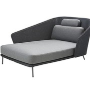CANE-LINE MEGA DAYBED RIGHT IN GRAPHITE WEAVE WITH CUSHIONS IN GREY SOFTTOUCH