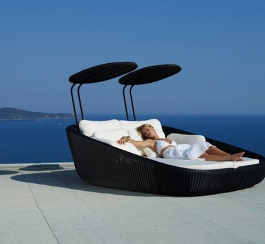 SAVANNAH DAYBED LEFT MODULE IN BLACK, CANE-LINE FIBRE