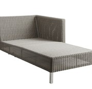 CANE-LINE CONNECT CHAISE LOUNGE MODULE, LEFT IN TAUPE