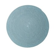 CANE-LINE DEFINED 79 INCH OUTDOOR RUG IN TURQUOISE, BEIGE AND GREY