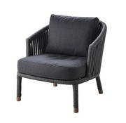 CANE-LINE MOMENTS LOUNGE CHAIR WITH CUSHIONS IN GREY SOFTTOUCH