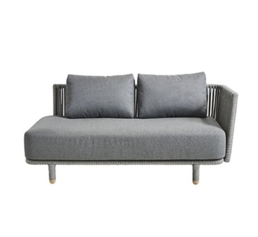MOMENTS 2-SEATER SOFA LEFT MODULE WITH CUSHIONS IN GREY SOFTTOUCH
