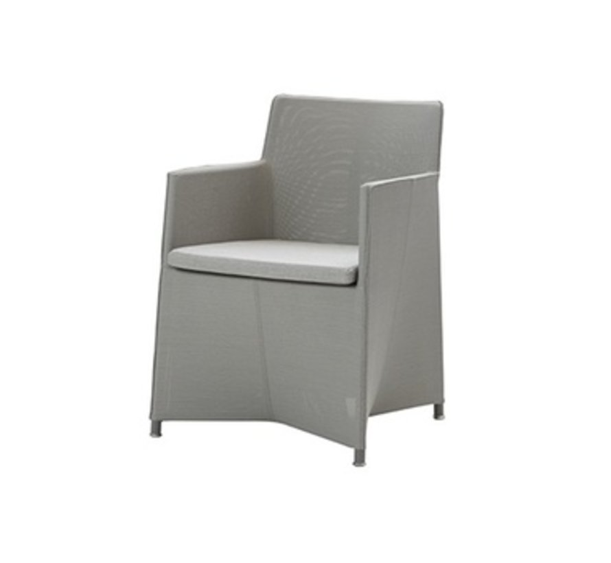 DIAMOND ARM CHAIR FRAME IN LIGHT GREY CANE-LINE TEX WITH CUSHION IN LIGHT GREY SUNBRELLA NATTE
