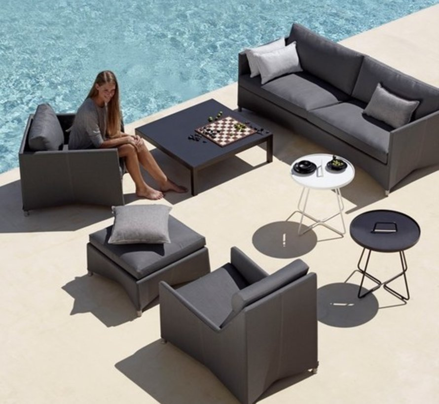 DIAMOND LOUNGE CHAIR IN GREY TEX WITH CUSHIONS IN GREY SUNBRELLA NATTE