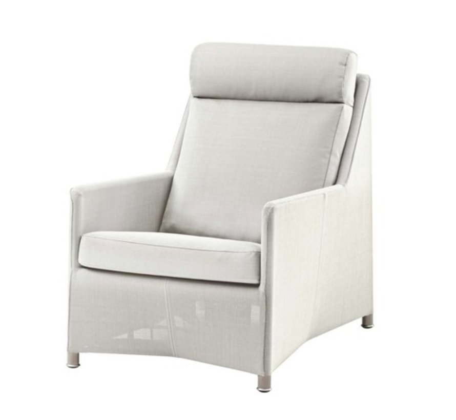 DIAMOND HIGHBACK CHAIR IN WHITE TEX WITH CUSHIONS IN WHITE CANE-LINE TEX