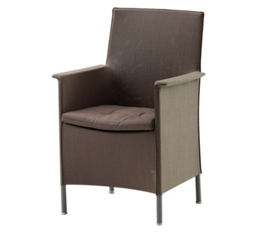 LIBERTY ARM CHAIR WITH CUSHION IN BROWN, CANE-LINE TEX