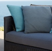 CANE-LINE DIAMOND 2-SEATER SOFA IN GRAPHITE WEAVE WITH CUSHIONS IN GREY SUNBRELLA NATTE
