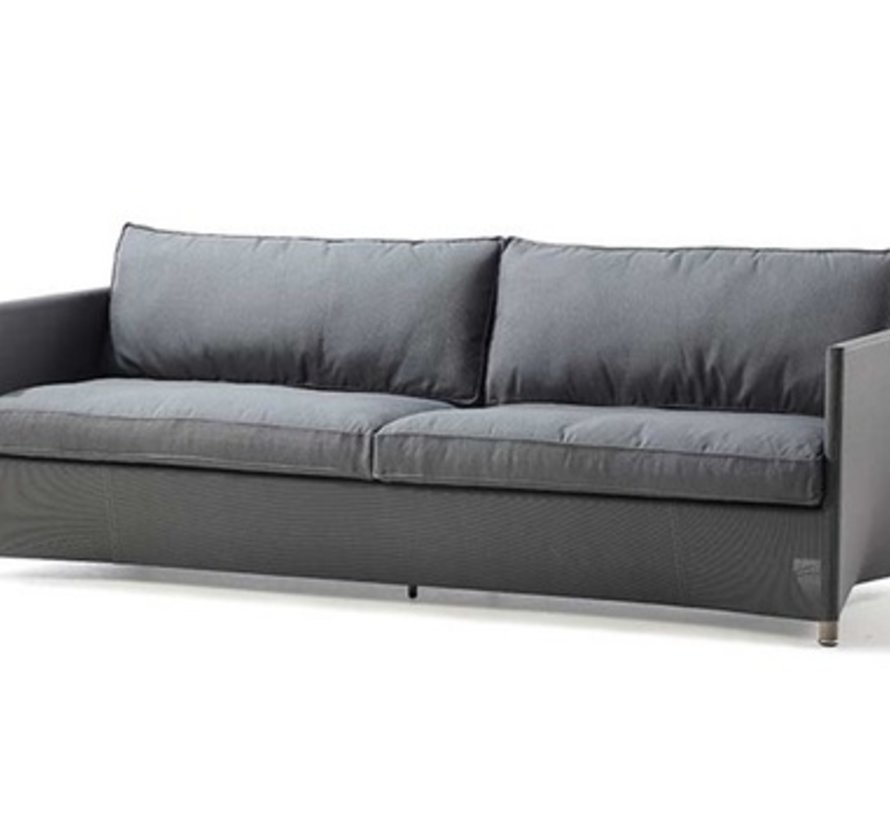 DIAMOND 3-SEATER SOFA IN GREY TEX WITH CUSHIONS IN GREY SUNBRELLA NATTE